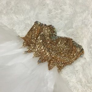 Gold Sequin & Ruffle Prom or Homecoming Dress